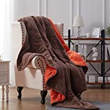 NexHome Blanket Fleece Blanket Soft Blanket Microfiber Twin Queen King Size Plush Throw Blankets for Couch Fuzzy Blanket All Season Sofa Bed Blanket Warm and Cozy Pink (Brown/Orange, 60' 80' Twin)