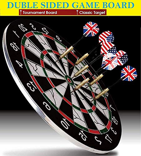 Famous Quality Heavy Metal Wiring Steel Tip Double Faced Flock Printing Thickening Family Game Dart Board with 6 Needle, 18 Inch