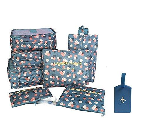NOVAGO Organizzatori per valigie, 7 pezzi, per organizzare i vestiti, biancheria intima, scarpe, vestiti sporchi + 1 Etichetta per valigie offerta (Blu Fiori)