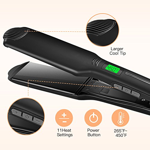 BESTOPE Hair Straightener Professional Flat Iron for Hair with Ceramic Tourmaline 1.75 Inch Wide Floating Plate Straighteners with 450 °F Salon High Heat, Dual Voltage(Upgraded Version)