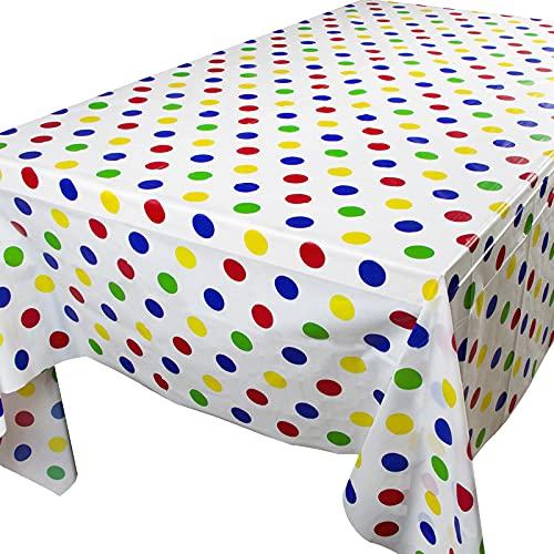 2pcs Manteles Mesa Plásticos 137x274cm Blanco con Puntos Colores Impermeable Rectangular para Banquetes Fiestas Navidad Bodas Bautizo Picnics Bufé Cumpleaños Barbacoas