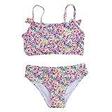 Pistaz - Bañador para niña, 2 piezas, diseño de leopardo, mangas y mosca arco, tubo alto con volantes, bikini para niña, ropa de baño con correa de volantes