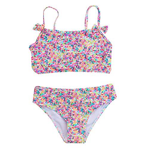Julhold Bebé niña bikini traje de baño colmena honda floral tubo superior verano playa conjunto traje de baño ropa