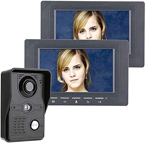 DZCGTP Video Kit de intercomunicador de Timbre de teléfono de videoportero de 7 Pulgadas 1 cámara 2 monitores de visión Nocturna con Timbre de 700 líneas de TV