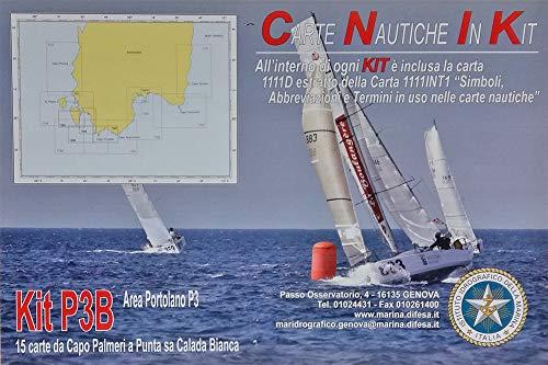 Istituto Idrografico della Marina Carte NAUTICHE Canale di Sardegna. Kit P3B. 15 Carte Capo PALMERI A Punta SA CALADA Bianca.