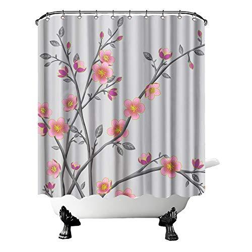 OuElegent Duschvorhang mit rosafarbenen Blumen, rustikale Pfirsichblüten mit grauen Baumblättern, Garten, Badezimmer, Dekoration, lebendige ländliche Natur, Vorhang mit Haken, 183 x 183 cm
