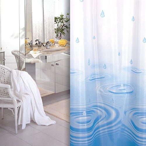 KS Handel 24 Textil DUSCHVORHANG Weiss BLAU Tropfen 180x200 INKL. QUALITÄTSRINGE 180 x 200 cm! Shower Curtain Blue!