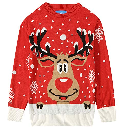 SSLR Big Boys' Funny Crewneck Pullover Ugly Christmas Sweater (Small, Red)