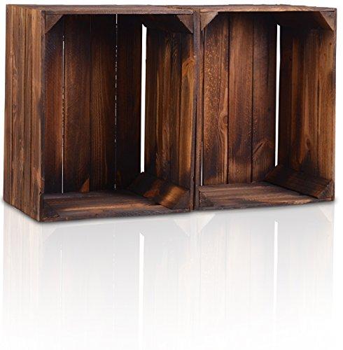 Chiccie - Caja de madera en estilo vintage, diferentes tamaños, con barniz oscuro, caja de fruta decorativa