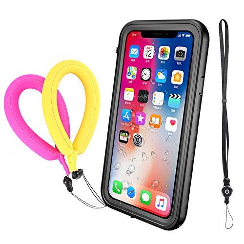 Funda Impermeable iPhone XS iPhone X, IP68 Waterproof Outdoor Delgado Cover a prueba de choques Anti-rasguños Full Body con Protector de Pantalla Impermeable Funda para iPhone XS X(Black A With Strap)