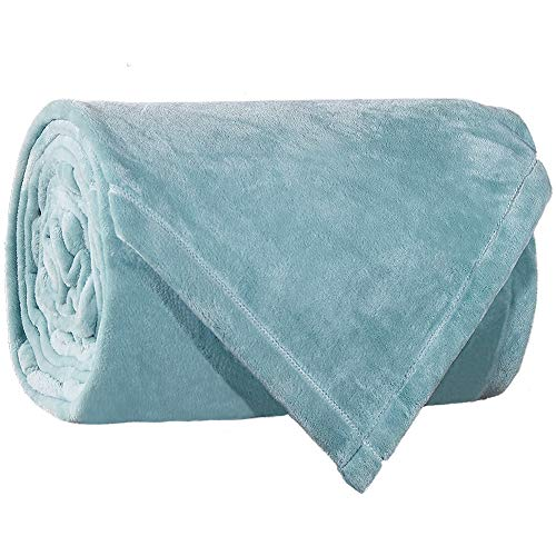 LBRO2M Fleece Bed Blanket Twin Size Super Soft Warm Fuzzy Velvet Plush Throw Lightweight Cozy Couch Blankets (65x90 Inch) Turquoise