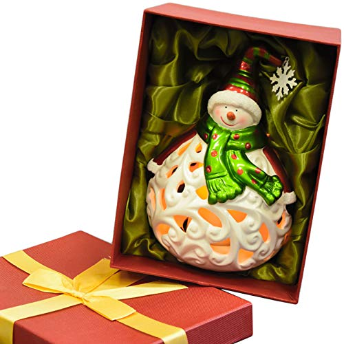 Christmas Luminary Flameless Candle Light Gift Box Snow Festive Xmas Decoration (SNOWMAN)