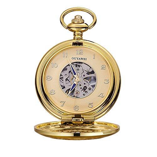 Reloj de Bolsillo Retro Perspectiva de bobinado Manual Perspectiva de la Parte Inferior Reloj de Bolsillo mecánico como un Bolsillo de Regalo y Relojes Fob,Punk (Color : Gold Shell Gold Surface)