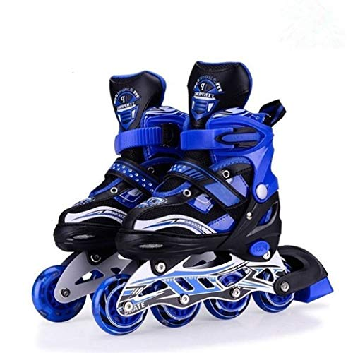 Authfort Inline Skates Adjustable Expands As Your Child Grows-Light Up Front Wheel and Low Friction Wheels (Blue)