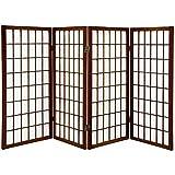 Oriental Furniture 3 ft. Tall Window Pane Shoji Screen - Walnut - 4 Panels