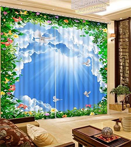 HAOTTP 3D Rideaux occultants doublures de lit Moderne Chambre Salon Bleu Ciel Mode Enfants Chambre Rideaux H270xW300CM