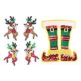 EXCEART Parche de Decoración de Navidad Parche Bordado de Navidad Zapatos de Alce de Navidad Coser en Parche para Diferentes Prendas de Ropa