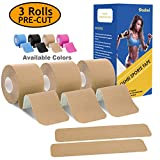 Poshei Kinesiology Tape Precut (3 Rolls Pack), Elastic Therapeutic Sports Tape - Pain Relief Adhesive for Shoulder Knee Elbow Ankle, Waterproof, Breathable, Latex Free, 2' x 16.5 feet Per Roll