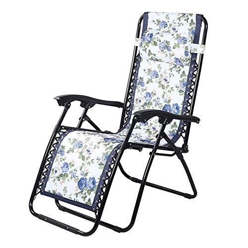 WANGLXFC Draagbare klapstoel - Verstelbare Zware Zero Zwaartekracht Stoel - Opvouwbare Ligstoel voor tweeërlei gebruik met hoofdkussen - Tuin Patio Zonnebank Relax, Wit