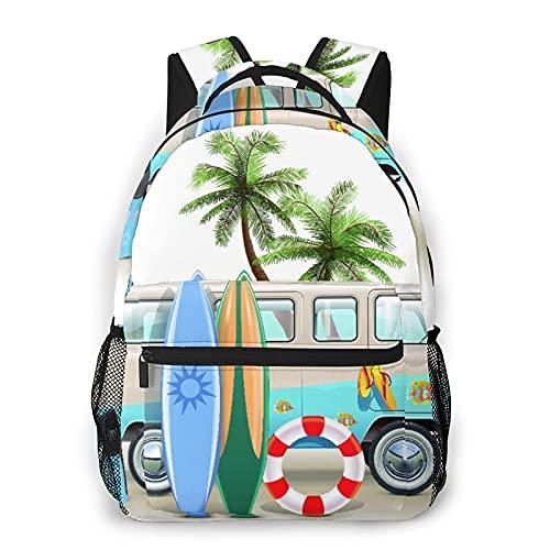 Nongmei Mochila de viaje,concepto de fin de semana de surf con elementos de buceo,aletas,esnórquel y viaje en furgoneta,relax,paz,resistente al agua para empresas,mochila antirrobo para ordenador