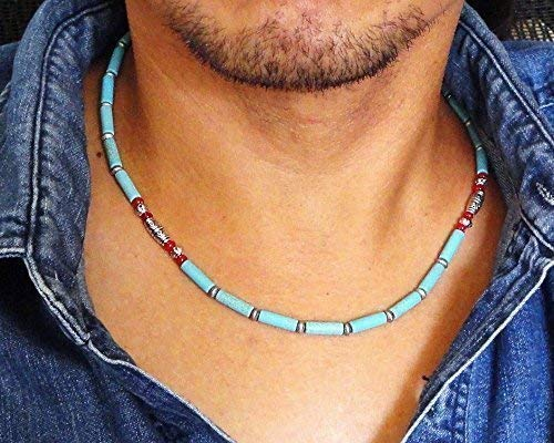 Blue Magnesite Stone and Red Coral Mens Beaded Necklace - Handcrafted in USA (Customize 18, 20, or 22 inches)