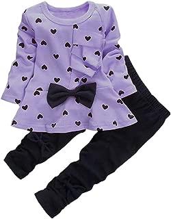 BINPAW Little Girl's Cute Heart Pattern 2 Pieces Outfit