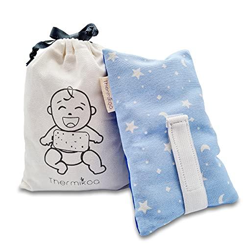 Cinturón Anticólicos Bebé Ajustable - Fajita de Saco Térmico de Semillas Para Aliviar el Dolor de Cólicos. 19x12 cm - Saco Cinturón Cólicos Bebé con Funda Lavable (Thermikoa) (Azul estrellitas)