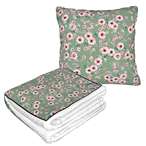 AEMAPE Green Flower Car Pillow Blanket Sofa Blanket, Travel Pillow Blanket, Warm and Thick, Airplane Plush Neck Pillow Thrown for Sleep