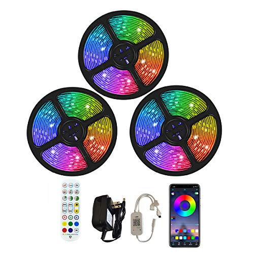 ANGROC Led Strip Lights, 50Ft Music Sync Color Changing Light Strip, APP Controlled, with 24-Keys IR Remote Controller, Flexible 5050 RGB LEDs Light Strips Kit for Home, TV, Party, DIY Decoration