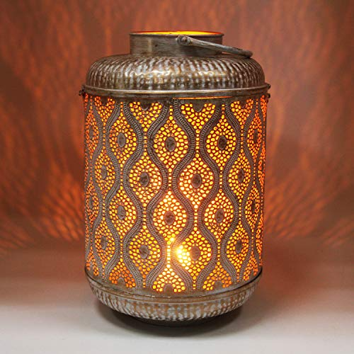 Casa Moro Orientalische Laterne Suraya Gross 46cm in Shabby Chic Weiss Gold aus Metall   Windlicht mit Henkel   stehend & hängend   für Hochzeit Feier Dekoration IRL5030