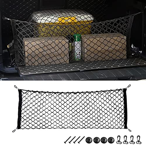 Car Rear Cargo Net, Adjustable Elastic Storage Organizer Net, Trunk Cargo...
