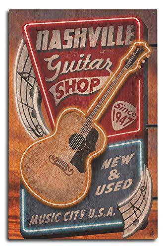 PotteLove Nashville, Tennesseee - akoestische gitaar muziek winkel 10x15 muurdecoratie houten bord