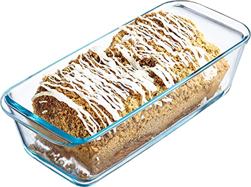 Simax Glassware Loaf Baking Pan: Classic Glass Tin Great for Banana Bread, Babka, Loaf Cakes, etc. - Dishwasher Safe Cooking Dish - Borosilicate Glass Mold - 1.5 Quart (6.25 Cups)