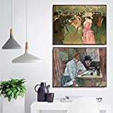 GYJDD Henri De Toulouse Lautrec Pinturas En Lienzo Cuadros Ilustraciones Poster E Impresiones Lienzo Famoso Arte De La Pared Salon De Estar Decoracion del Hogar 40x50cmx2 Sin Marco