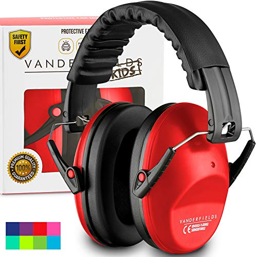 Vanderfields Earmuffs for Kids Toddlers Children  Hearing Protection Ear Defenders for Small Adults Women  Foldable Design Ear Defenders Adjustable Padded Headband Noise Reduction Red Fox