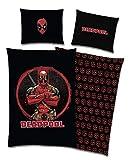 TexIdea Marvel Wende Bettwäsche-Set Deadpool 135x200 cm + 80x80 cm, 100% Baumwolle Reißverschlus...