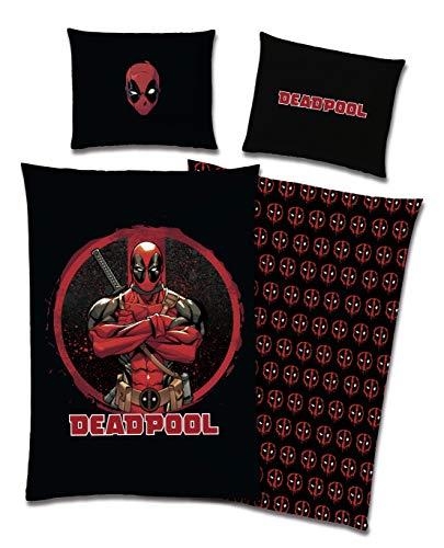 TexIdea Marvel - Juego de cama reversible Deadpool 135 x 200 cm + 80 x 80 cm, 100% algodón, con cremallera, color negro