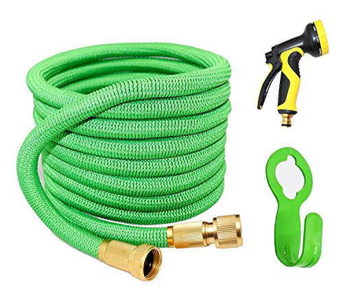 WHOLEV Garden Hose Pipe, 50ft Expanding Hose, Water Hose Flexible Extra Strength Fabric 5000D, High Temperature Latex and Solid Brass Connector for Car Garden House, Free 9 Funtions Hose Nozzle…