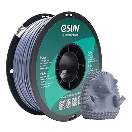 eSUN PLA+ Filament 2.85mm, PLA Plus 3D Drucker Filament, Maßgenauigkeit +/- 0.03mm, 1KG (2.2 LBS) Spule für 3D Drucker in Vakuumverpackung, Grau