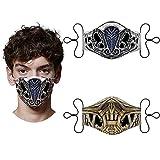 Scorpion Face Mask Mortal Kombat - 2pcs Set Sub-Zero Reusable Washable Adjustable Cloth Mouth Cover For Men Women