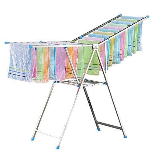 Perchero plegable, percheros de balcón en el suelo, perchas interiores y exteriores, percheros de ropa para bebés ( Color : Azul )