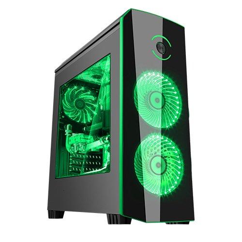 Itek ORIGIN Case da Gaming Middle Tower, USB 3.0, Ventola a LED da 2 x 12 cm, Nero/Verde