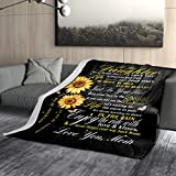 Granbey Sunflower Love Letter to My Daughter Flannel Blanket You are My Sunshine Super Soft Lightweight Warm Cozy Wrinkle-Resistant Anti-Pilling Blankets Home Bed Sofa Applicable All Year 60x50
