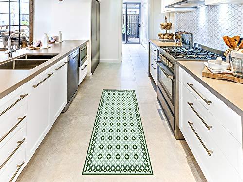 Oedim Alfombra Mosaico Verde, Imitación Azulejos para Habitaciones PVC | 60 x 120 cm |Moqueta PVC | Suelo vinílico | Decoración del Hogar | Suelo de Protección |
