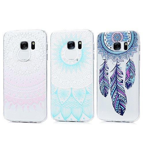 Lot de 3 KASOS Coque pour Samsung Galaxy S7, Coque Housse Case Bumper Étui Coque de Protection en TPU Souple de Couleur Silicone Ultra Exquis Ultra Mince Housse - Totem Fleur Rose+Campanule+Totem