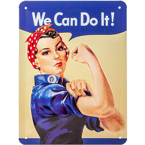 NOSTALGIC Cartel de Chapa Retro USA – We Can do it – Idea de Regalo para la Cocina, metálico, Diseño Vintage para decoración Pared, 15 x 20 cm