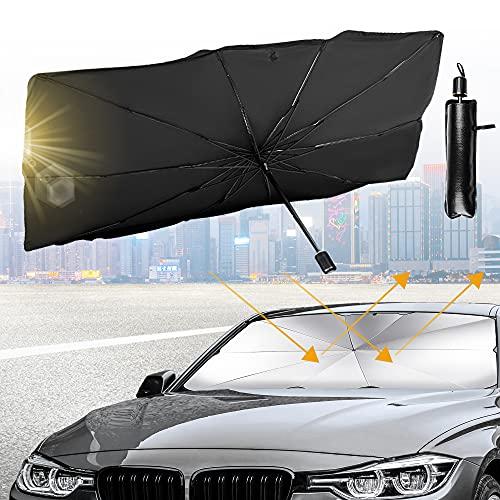 Ankuka Plegable Parasol Coche Delantero, Parabrisas del Coche Sombrilla, Rayos Anti-UV y Calor Protector de Visera Sol Paraguas (140 * 82CM)