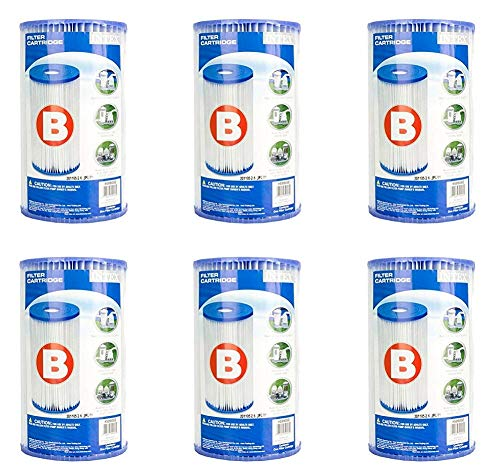 Intex Corp Type B Pool Filter Cartridge (6pk) - 59905 Filters Value Pack- for Use with Pumps: 56633, 56634, 56621, 56622, 56611, 56612