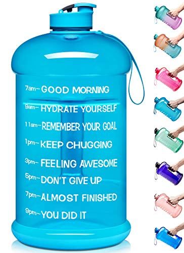 Venture Pal Large 128oz Leakproof BPA Free Fitness Sports Water Bottle with Motivational Time Marker to Ensure You Drink Enough Water Throughout The Day-1 Gallon-Sky Blue