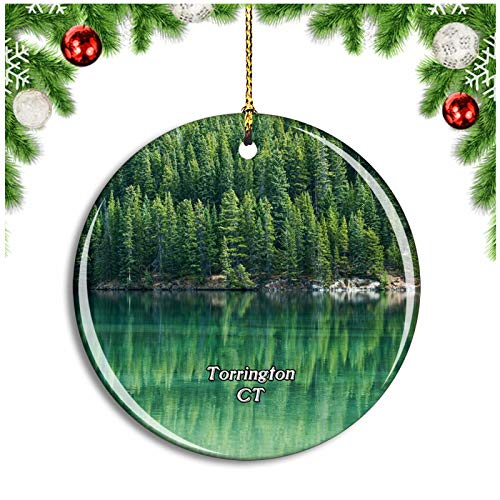 Weekino Torrington Park Connecticut USA Christmas Ornament Xmas Tree Decoration Hanging Pendant Travel Souvenir Collection Double Sided Porcelain 2.85 Inch